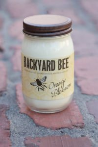 backyard bee candle, orange blossom jar 1